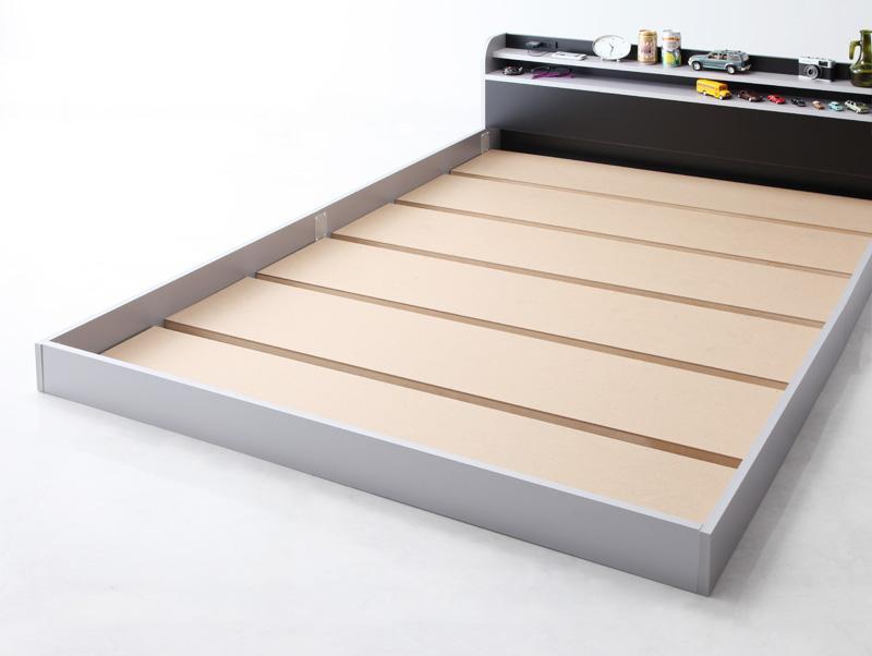 ベッド ベット 安い ダブル ダブルベッド ダブルベット ダブルサイズ 棚 コンセント付き ( フレームのみ ) シルバー 銀色×ブラック 黒