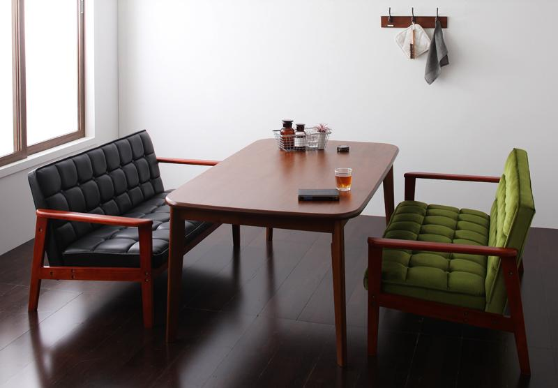 ダイニングセット 3点 3点セット 4人用 Cタイプ (幅160cm+2Pソファ×2) 【 バイキャストブラック 黒 】【食卓 3点セット 三点セット 食卓セット テーブル チェア いす 椅子 イス 肘 ベンチ 北欧 無垢 アンティーク モダン 送料無料】