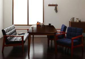ダイニングテーブルセット 4人用 椅子 ソファー おしゃれ 安い 北欧 食卓 4点 ( 机+2Pソファ1+1Pソファ2 ) 幅160 デザイナーズ クール スタイリッシュ ミッドセンチュリー 高さ65 ロータイプ 低め ウォールナット