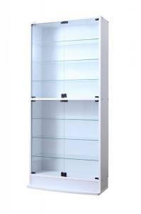 コレクションケース キャビネット ガラス ショーケース アンティーク 薄型 フィギュア ディスプレイ 棚 ディスプレイケース コレクションラック ( 本体両開きタイプ 高さ180 奥行39 )