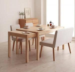 ダイニングセット ダイニングテーブルセット 4人 四人 4人用 四人用 椅子 ダイニングテーブル ベンチ おしゃれ 伸縮 伸縮式 伸長式 安い 北欧 食卓 ( 4点(テーブル+チェア2脚+ソファベンチ1脚)幅135-235 )