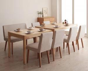 ダイニングセット ダイニングテーブルセット 8人 八人 8人用 八人用 椅子 ダイニングテーブル ベンチ おしゃれ 伸縮 伸縮式 伸長式 安い 北欧 食卓 ( 8点(テーブル+チェア6脚+ソファベンチ1脚)幅135-235 )