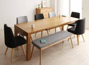 ダイニングセット ダイニングテーブルセット 8人 八人 8人用 八人用 椅子 ダイニングテーブル ベンチ おしゃれ 伸縮 伸縮式 伸長式 安い 北欧 食卓 ( 8点(テーブル+チェア6脚+ベンチ1脚)幅145-205 )