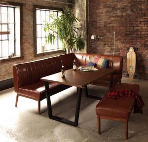 ダイニングテーブルセット 6人用 コーナーソファー L字 l型 ベンチ 椅子 おしゃれ 安い 食卓 レザー 合皮 カウチ 4点 ( 机+ソファ1+右肘ソファ1+長椅子1 ) 幅120 西海岸 ヴィンテージ インダストリアル レトロ 高さ65 ロータイプ 低め ウォールナット 大きい
