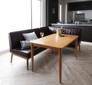 ダイニングテーブルセット 4人用 コーナーソファー L字 l型 ファミレス風 ベンチ 椅子 おしゃれ 安い 北欧 食卓 レザー 革 合皮 カウチ 3点 ( 机+ソファ1+右肘ソファ1 ) 幅120 デザイナーズ クール スタイリッシュ ミッドセンチュリー 高さ65 ロータイプ 低め オーク 木製