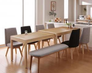 ダイニングセット ダイニングテーブルセット 8人 八人 8人用 八人用 椅子 ダイニングテーブル ベンチ おしゃれ 伸縮 伸縮式 伸長式 安い 北欧 食卓 ( 8点(テーブル+チェア6脚+ベンチ1脚)幅135-235 )