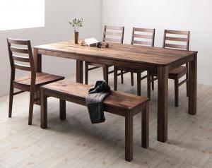 ダイニングセット ダイニングテーブルセット 6人 六人 6人用 六人用 椅子 ダイニングテーブル ベンチ おしゃれ 安い 北欧 食卓 ( 6点(テーブル+チェア4脚+ベンチ1脚)ウォールナット 板座幅180 )