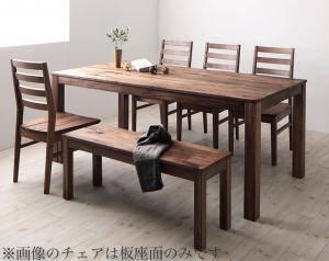 ダイニングセット ダイニングテーブルセット 6人 六人 6人用 六人用 椅子 ダイニングテーブル ベンチ おしゃれ 安い 北欧 食卓 ( 6点(テーブル+チェア4脚+ベンチ1脚)ウォールナット 板座×PVC座幅180 )