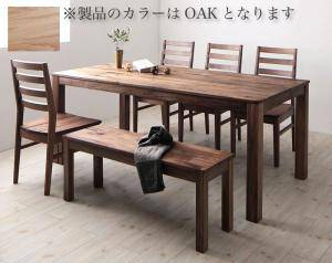 ダイニングセット ダイニングテーブルセット 6人 六人 6人用 六人用 椅子 ダイニングテーブル ベンチ おしゃれ 安い 北欧 食卓 ( 6点(テーブル+チェア4脚+ベンチ1脚)オーク 板座幅180 )