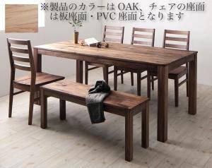 ダイニングセット ダイニングテーブルセット 6人 六人 6人用 六人用 椅子 ダイニングテーブル ベンチ おしゃれ 安い 北欧 食卓 ( 6点(テーブル+チェア4脚+ベンチ1脚)オーク 板座×PVC座幅180 )