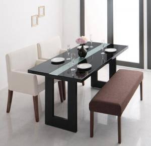 ダイニングテーブルセット 4人用 椅子 ベンチ おしゃれ 安い 北欧 食卓 4点 ( 机+チェア2+長椅子1 ) 幅150 デザイナーズ クール スタイリッシュ ミッドセンチュリー 2本脚 和モダン ファミレス風 ガラス 鏡面