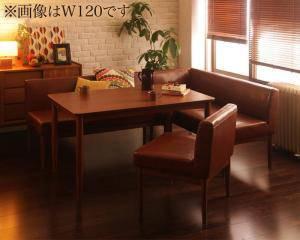 ダイニングテーブルセット 5人用 コーナーソファー L字 l型 ベンチ 椅子 おしゃれ 安い 北欧 食卓 レザー 合皮 カウチ 4点 ( 机+ソファ1+右肘ソファ1+チェア1 ) 幅150 デザイナーズ クール スタイリッシュ ミッドセンチュリー 高さ65 ロータイプ 低め ウォールナット