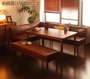 ダイニングテーブルセット 6人用 コーナーソファー L字 l型 ベンチ 椅子 おしゃれ 安い 北欧 食卓 レザー 合皮 カウチ 4点 ( 机+ソファ1+左肘ソファ1+長椅子1 ) 幅150 デザイナーズ クール スタイリッシュ ミッドセンチュリー 高さ65 ロータイプ 低め ウォールナット 大きい
