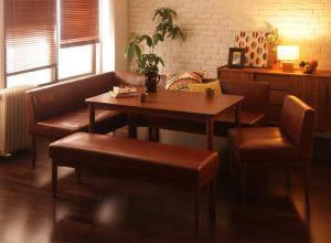 ダイニングテーブルセット 7人用 コーナーソファー L字 l型 ベンチ 椅子 おしゃれ 安い 北欧 食卓 レザー 合皮 カウチ 5点 ( 机+ソファ1+左肘ソファ1+チェア1+長椅子1 ) 幅120 デザイナーズ クール スタイリッシュ 高さ65 ロータイプ 低め ウォールナット 大きい