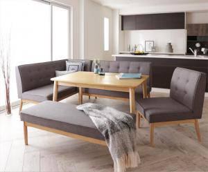 ダイニングテーブルセット 7人用 コーナーソファー L字 l型 ファミレス風 ベンチ 椅子 おしゃれ 安い 北欧 食卓 カウチ 5点 ( 机+ソファ1+左肘ソファ1+チェア1+長椅子1 ) 幅120 デザイナーズ クール スタイリッシュ ミッドセンチュリー 高さ65 ロータイプ 低め 大きい