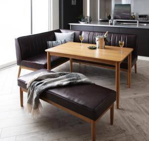 ダイニングテーブルセット 6人用 コーナーソファー L字 l型 ベンチ 椅子 おしゃれ 安い 北欧 食卓 レザー 合皮 カウチ 4点 ( 机+ソファ1+左肘ソファ1+長椅子1 ) 幅120 デザイナーズ クール スタイリッシュ ミッドセンチュリー 高さ65 ロータイプ 低め オーク 大きい