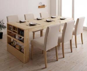 ダイニングセット ダイニングテーブルセット 6人 六人 6人用 六人用 椅子 ダイニングテーブル おしゃれ 伸縮 伸縮式 伸長式 安い 北欧 食卓 ( 7点(テーブル+チェア6脚)シェルフタイプ幅120-200 )