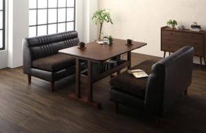 ダイニングセット ダイニングテーブルセット 4人 四人 4人用 四人用 椅子 ソファー ソファ ダイニングテーブル ベンチ おしゃれ 安い 北欧 食卓 レザー 革 合皮 ( 3点(テーブル+2Pソファ2脚)幅130 )