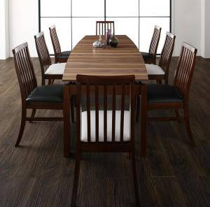 ダイニングテーブルセット 8人用 椅子 おしゃれ 公式 伸縮式 伸長式 北欧 9点 机+チェア8脚 デザイナーズ スタイリッシュ ウォールナット ミッドセンチュリー 大きい 幅140-240 大きめ 幅240 パーティ ビュッフェ アウトレット 食卓 ヘリンボーン風 安い 幅140 クール