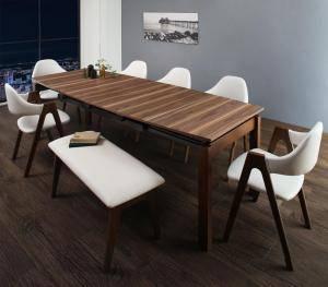 ダイニングセット ダイニングテーブルセット 8人 八人 8人用 八人用 椅子 ダイニングテーブル ベンチ おしゃれ 伸縮 伸縮式 伸長式 安い 北欧 食卓 ( 8点(テーブル+チェア6脚+ベンチ1脚)幅140-240 )