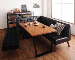 ダイニングテーブルセット 6人用 コーナーソファー L字 l型 ベンチ 椅子 おしゃれ 安い 食卓 レザー 合皮 カウチ 4点 ( 机+ソファ1+左肘ソファ1+長椅子1 ) 幅120 西海岸 ヴィンテージ インダストリアル レトロ ミッドセンチュリー 高さ65 ロータイプ 低め 古材風 大きい