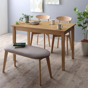 ダイニングテーブルセット 4人用 椅子 ベンチ おしゃれ 安い 北欧 食卓 4点 ( 机+チェア2+長椅子1 ) ナチュラル 幅115 デザイナーズ クール スタイリッシュ ミッドセンチュリー パイン 木製