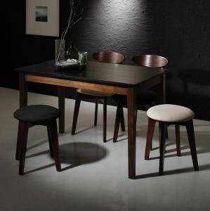 ダイニングテーブルセット 4人用 椅子 おしゃれ 安い 北欧 食卓 5点 ( 机+チェア2脚+スツール2脚 ) 黒×ウォールナット 幅115 デザイナーズ クール スタイリッシュ ミッドセンチュリー パイン 木製