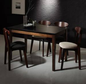 ダイニングセット ダイニングテーブルセット 4人 四人 4人用 四人用 椅子 ダイニングテーブル おしゃれ 安い 北欧 食卓 ( 5点(テーブル+チェア4脚)ブラック×ウォールナット 幅115 )