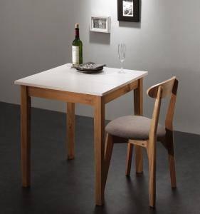 ダイニングテーブルセット 1人用 椅子 一人暮らし コンパクト 小さめ ワンルーム おしゃれ 安い 北欧 食卓 2点 ( 机+チェア1脚 ) ホワイト×ナチュラル 幅68 デザイナーズ クール スタイリッシュ ミッドセンチュリー パイン 木製 正方形