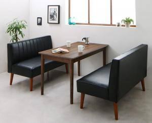 ダイニングセット ダイニングテーブルセット 4人 四人 4人用 四人用 椅子 ソファー ソファ ダイニングテーブル ベンチ おしゃれ 安い 北欧 食卓 レザー 革 合皮 ( 3点(テーブル+2Pソファ2脚)幅115 )