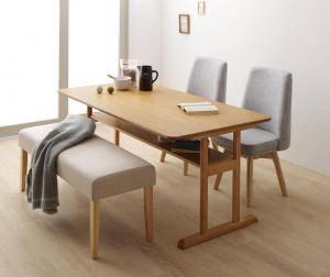 ダイニングテーブルセット 4人用 椅子 ベンチ おしゃれ 安い 北欧 食卓 4点 ( 机+チェア2+長椅子1 ) 幅150 デザイナーズ クール スタイリッシュ ミッドセンチュリー 2本脚 和モダン ファミレス風 高さ65 ロータイプ 低め