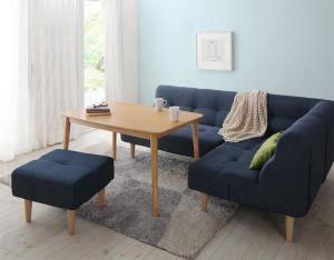 ダイニングテーブルセット 5人用 コーナーソファー L字 l型 ファミレス風 椅子 おしゃれ 安い 北欧 食卓 カウチ 5点 ( 机+2Pソファ1+1Pソファ1+コーナー1+スツール1 ) 幅105 デザイナーズ クール スタイリッシュ ミッドセンチュリー オーク 木製 高さ調節 昇降