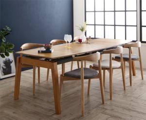 ダイニングテーブルセット 6人用 椅子 おしゃれ 伸縮式 伸長式 安い 北欧 食卓 7点 ( 机+チェア6脚 ) 幅140-240 デザイナーズ クール スタイリッシュ ミッドセンチュリー オーク 木製 ウォールナット 大きい 大きめ パーティ ビュッフェ 幅140 幅240