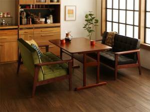 ダイニングテーブルセット 4人用 椅子 ソファー ベンチ おしゃれ 安い 北欧 食卓 3点 ( 机+2Pソファ2脚 ) 幅120 デザイナーズ クール スタイリッシュ ミッドセンチュリー 2本脚 和モダン ファミレス風 高さ65 ロータイプ 低め ウォールナット