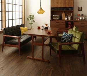 ダイニングテーブルセット 4人用 椅子 ソファー おしゃれ 安い 北欧 食卓 4点 ( 机+2Pソファ1+1Pソファ2 ) 幅120 デザイナーズ クール スタイリッシュ ミッドセンチュリー 2本脚 和モダン ファミレス風 高さ65 ロータイプ 低め ウォールナット