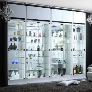 コレクションケース キャビネット ガラス ショーケース アンティーク 薄型 フィギュア ディスプレイ 棚 ディスプレイケース コレクションラック ( コレクション収納 本体 上置きロータイプ付き 幅54.1 高さ225~252 )