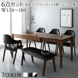 ダイニングセット ダイニングテーブルセット 6人 六人 6人用 六人用 椅子 ダイニングテーブル ベンチ おしゃれ 伸縮 伸縮式 伸長式 安い 北欧 食卓 ( 6点(テーブル+チェア4脚+ベンチ1脚)幅120-180 )