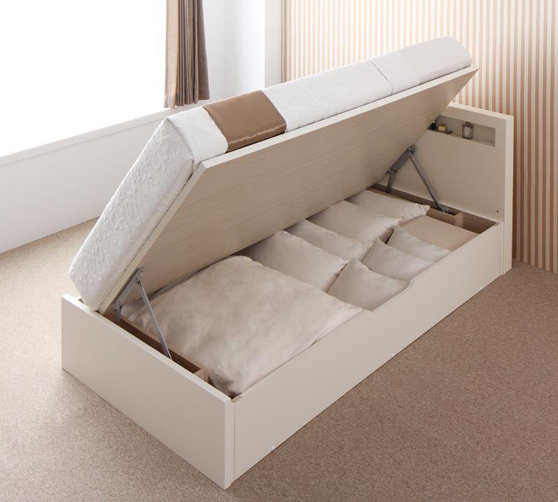 ベッド 安い セミダブル セミダブルベッド セミダブルサイズ 収納付き レギュラー ( 横開 ) 羊毛D マットレス付き ホワイト 白