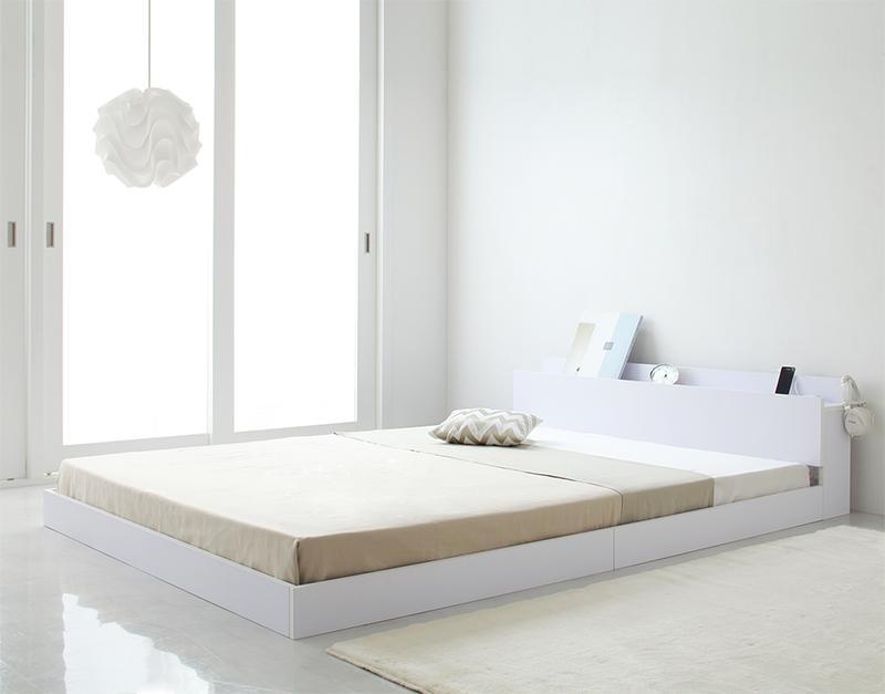 ベッド ベット 安い ダブル ダブルベッド ダブルベット ダブルサイズ 棚 コンセント付き ( 日本製 ポケット マットレス付き 付き ) ホワイト 白