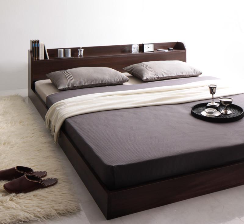 ベッド ベット 安い クイーン クイーンベッド クイーンベット クイーンサイズ 棚 コンセント付き ( ボンネル マットレス付き / ハード ) ダークブラウン