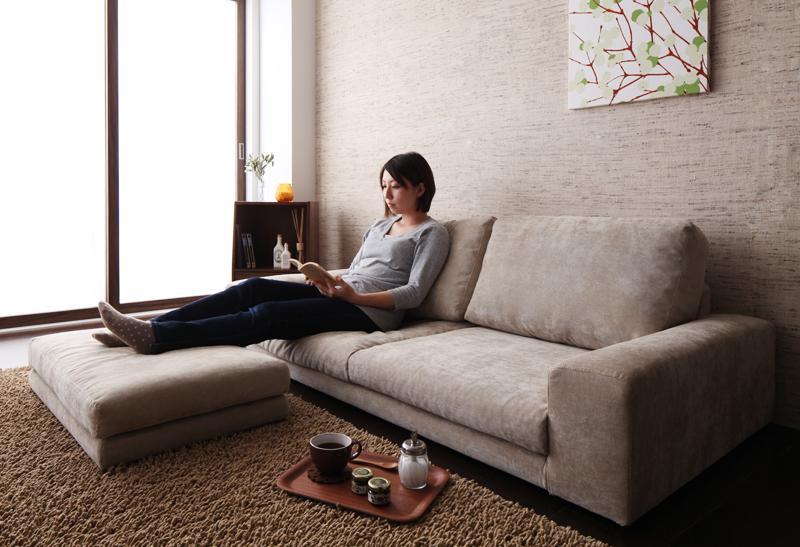 ソファー 3人掛け フロアソファ ローソファ ロータイプ 3P+オットマン/足置き ブラウン 茶色 ソファ アームチェア 座椅子 応接 布 革 合皮 低い