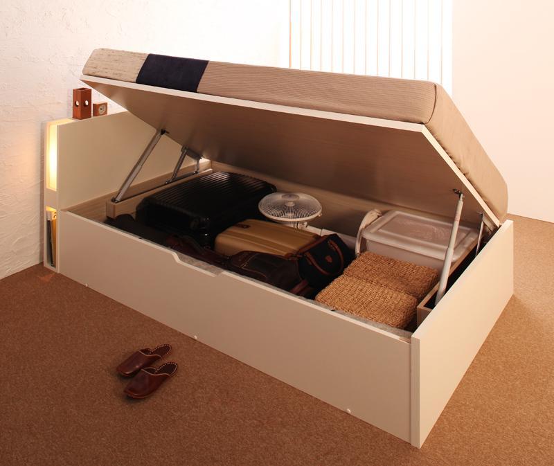 ベッド 安い セミダブル セミダブルベッド セミダブルサイズ 収納付き ラージ ( 横開 ) マルチラスSS マットレス付き ホワイト 白