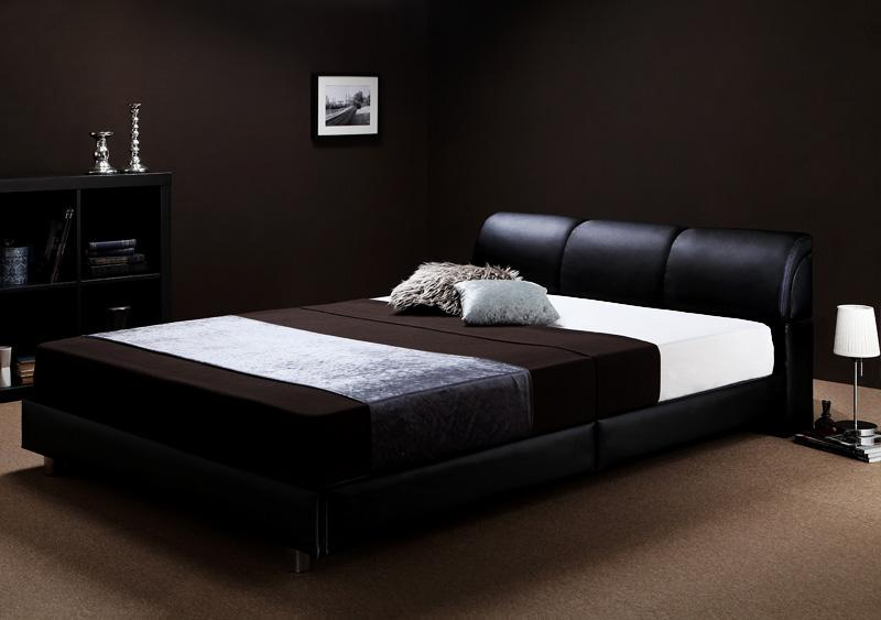 ベッド ベット 安い ダブル ダブルベッド ダブルベット ダブルサイズ ( ボンネル マットレス付き / ハード ) ブラック 黒