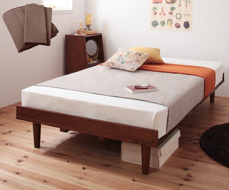 ベッド 安い シングル シングルベッド シングルサイズ ( ボンネル マットレス付き / レギュラー フル ) ライトブラウン パッド+シーツ2枚 モカブラウン