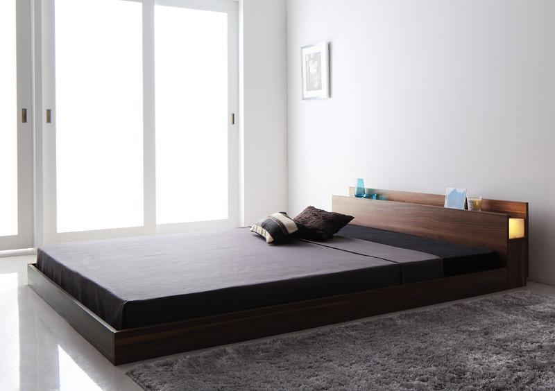 ベッド ベット 安い ダブル ダブルベッド ダブルベット ダブルサイズ ライト 収納付き ( ポケット / レギュラー ) ウォルナット ブラウン マットレス付き ブラック 黒