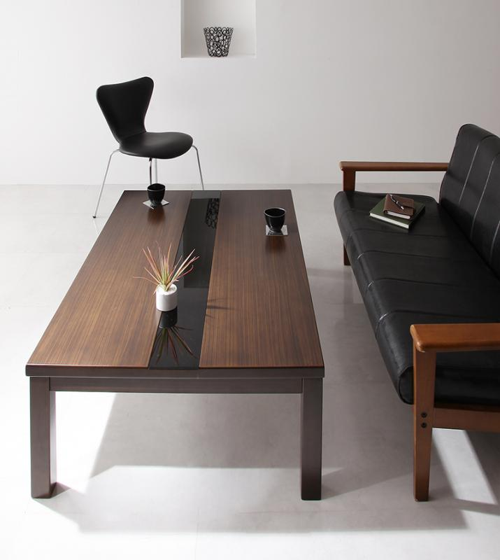 こたつ センターテーブル ローテーブル 座卓 長方形 (120×80) 【 ブラック 黒 】【木製 リビングテーブル 応接テーブル ちゃぶ台 コーヒーテーブル ダイニングテーブル 座卓 ディスプレイ 棚 引き出し ガラス 送料無料】