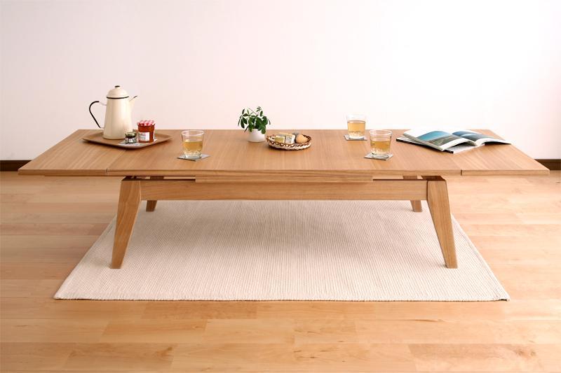 センターテーブル 木製 Lサイズ(幅120-180) 【 ナチュラルアッシュ 】【木製 リビングテーブル 応接テーブル ちゃぶ台 コーヒーテーブル ダイニングテーブル 座卓 ディスプレイ 棚 引き出し ガラス 】