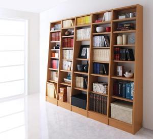 本棚 書棚 大容量 可動棚 壁面収納 無限 横 連結 本体+横連結棚4体 セット ブラウン 茶色 ナチュラル ホワイト 白