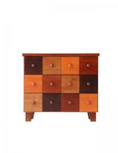 チェスト かわいい 可愛い キュート カントリー カラフル 天然木 北欧 幅57×高さ50 ブラウン 茶色 木目 カラフル