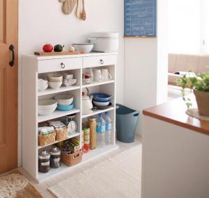 食器棚 キッチンストッカー カップボード 薄型 薄型キッチン収納 幅90 cm ホワイト 白 ミニ ミニタイプ